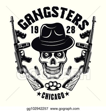 Vector Art - Mafia emblem gangster skull in hat with two guns. EPS ... 55db8165b754