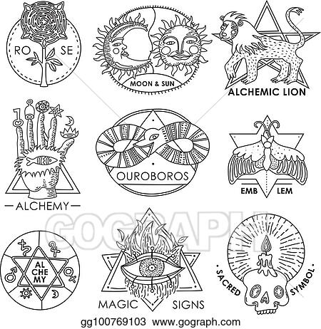 Clip Art Vector Magic Emblems Hand Drawn Set Stock Eps