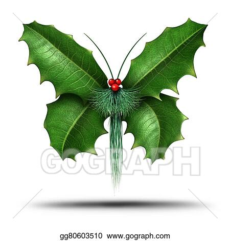 drawing magical holiday holly butterfly clipart drawing