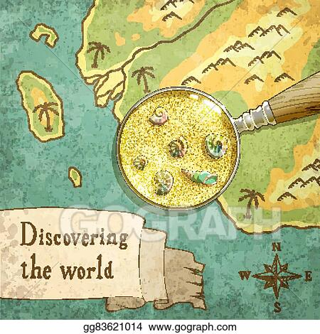 Nature On The Map Vector Clipart   Magnifier showing beautiful nature on the map
