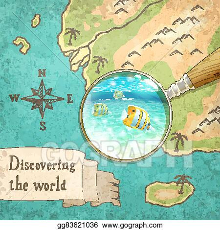Vector clipart magnifier showing beautiful nature on the map magnifier showing beautiful nature on the map vector illustration eps10 gumiabroncs Image collections