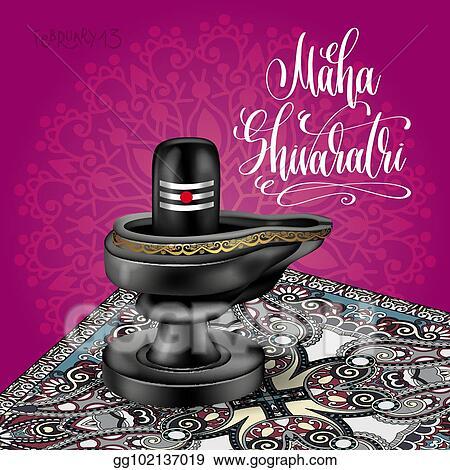 Vector Illustration Maha Shivaratri Greeting Card With Black Stone