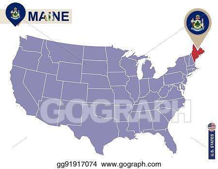 Maine Map Usa.Vector Art Maine State On Usa Map Maine Flag And Map Eps Clipart
