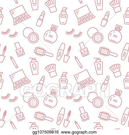 Vector Stock Makeup Beauty Care Red Seamless Pattern With Flat Line Icons Cosmetics Illustrations Of Lipstick Mascara Powder Eyeshadows Foundation Nail Polish Cute Pink Repeated Wallpaper Signs Make Up Store Stock