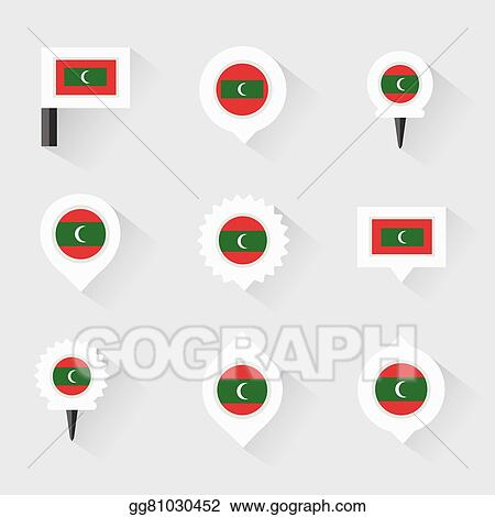 Vector Clipart - Maldives flag and pins for infographic, and map ...