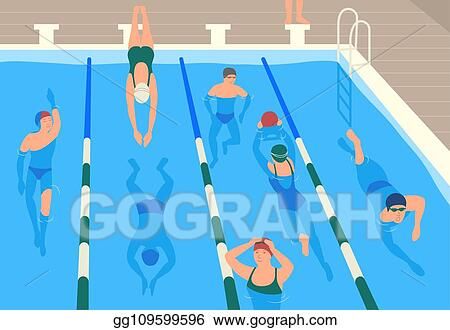 Vector Art Male And Female Flat Cartoon Characters Wearing Caps Goggles And Swimwear Jumping And Swimming Or Divining In Pool Men And Women Performing Sports Activity In Water Modern Vector Illustration