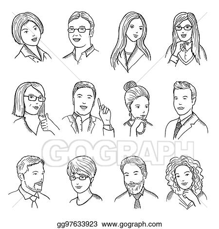 clip art vector male and female hand drawn illustrations for