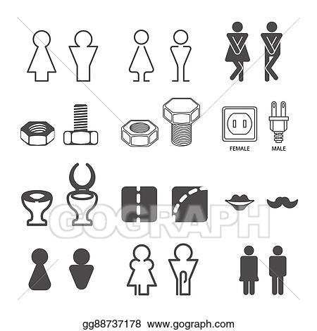 Vector Stock Male And Female Restroom Symbols Clipart Fascinating Male Female Bathroom Symbols