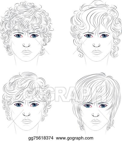Vector Art Male Curly Hairstyles Clipart Drawing Gg75618374 Gograph