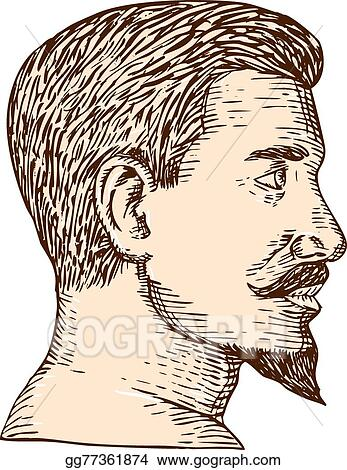 Vector Art Male Goatee Side View Etching Clipart Drawing Gg77361874 Gograph