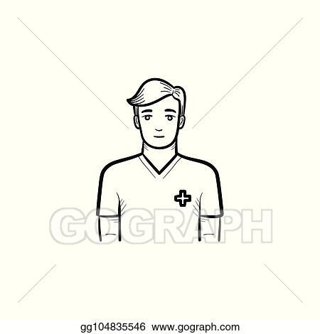 vector art male nurse hand drawn outline doodle icon clipart