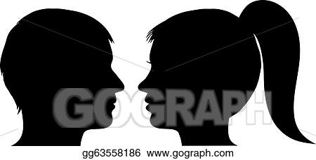 Eps Vector Man And Woman Face Profile Stock Clipart Illustration Gg63558186 Gograph
