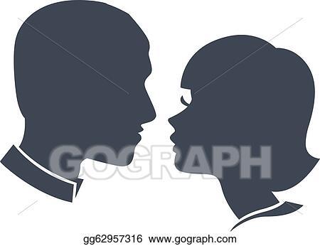 Clip Art Vector Man And Woman Face Silhouette Stock Eps Gg62957316 Gograph