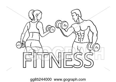 Vector Art - Man and woman of fitness silhouette character vector ...