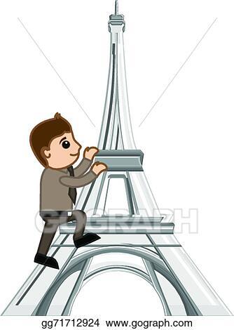 Vector Stock Man Climbing On Eiffel Tower Vector Clipart Illustration Gg71712924 Gograph