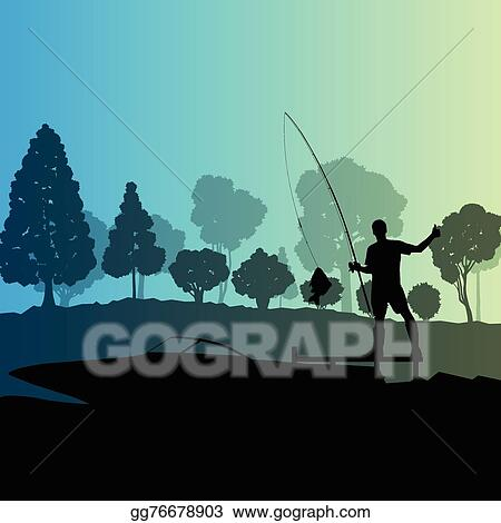 Vector Clipart Man Fishing On Lake From Boat Vector Illustration Gg76678903 Gograph