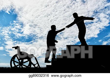 Stock Illustration Man Gives Helping Hand To Disabled