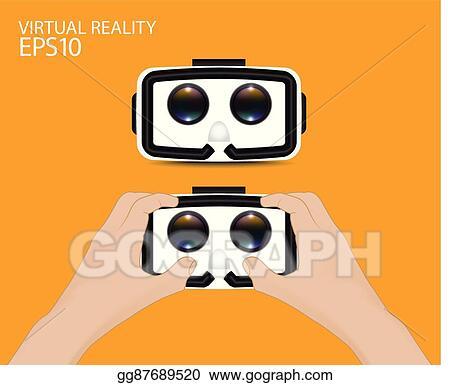 Clip Art Vector - Man hand hold virtual reality  Stock EPS