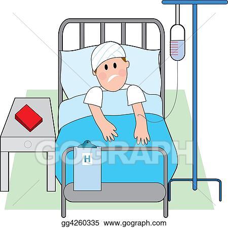 Clip Art - Man in hospital bed. Stock Illustration ...