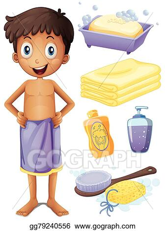 EPS Vector Man In Towel And Bathroom Set Stock Clipart Enchanting Bathroom Clipart Set