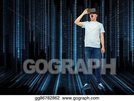 b16b4e9fcf0 Picture - Man in virtual reality headset or 3d glasses. Stock Photos ...