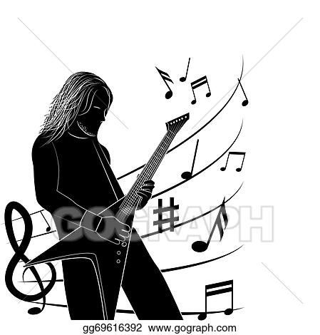 Eps Illustration Man Playing Guitar Silhouette Vector Clipart