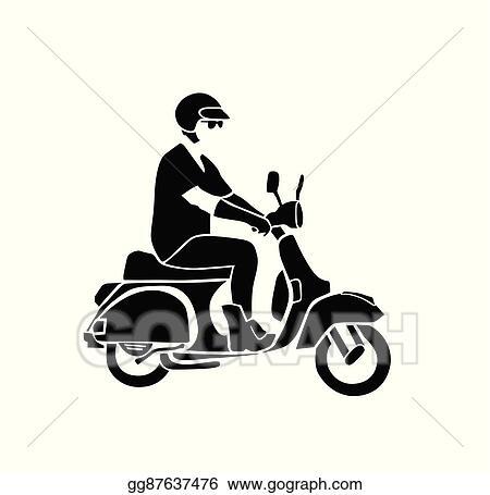 Clip Art Vector - Man rides vintage vespa vector  Stock EPS