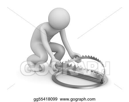 Drawing Man Setting Up Trap Clipart Drawing Gg55418099