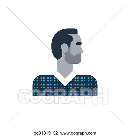 Vector Art Man Side View Turned Head Casual Outfit Good Looking Person Clipart Drawing Gg91319132 Gograph