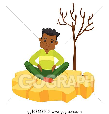 Vector Stock Man Sitting On Cracked Earth Because Of Drought Clipart Illustration Gg103553940 Gograph
