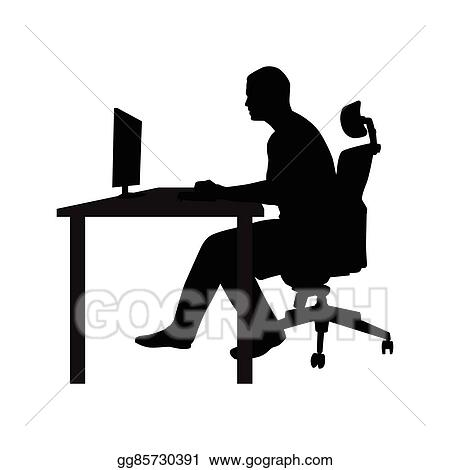 office chair clipart. eps illustration - man sitting on office chair at table and working computer. side view. vector silhouette. in desk staring clipart