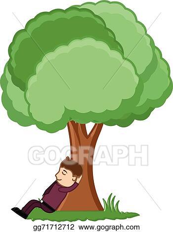 Vector Clipart Man Sitting Under A Tree Vector Illustration