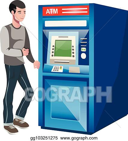 Man Using ATM Machine. Vector Illustration Of People White Background.  Stock Vector - Illustration of flat, monitor: 82912049