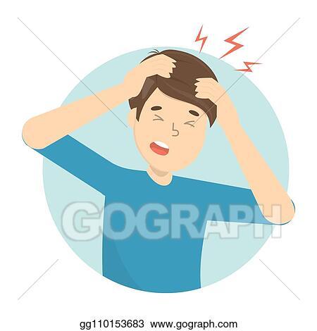 Vector Art Man Suffer From The Pain In The Head Headache Eps Clipart Gg110153683 Gograph