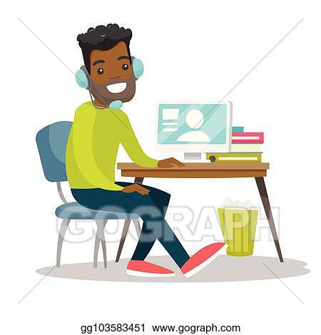Vector Clipart Man Using Headset And Computer In Call Center