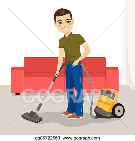 Vector Clipart Man Vacuum Cleaner Vector Illustration Gg85722669