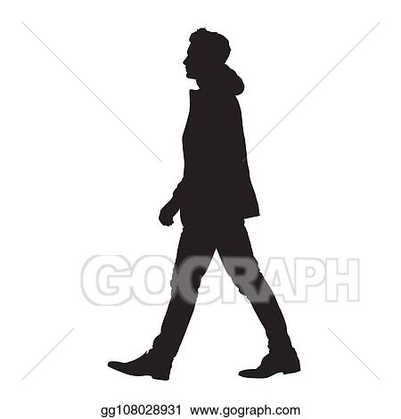 Vector Art Man Walking Forward Isolated Vector Silhouette Side View Clipart Drawing Gg108028931 Gograph