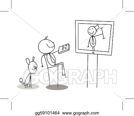 watching tv clipart black and white. vector art - man watching tv vector. clipart drawing gg59101464 black and white t