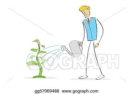 Man Watering Plant In A Pot Cartoon Vector Clipart - FriendlyStock
