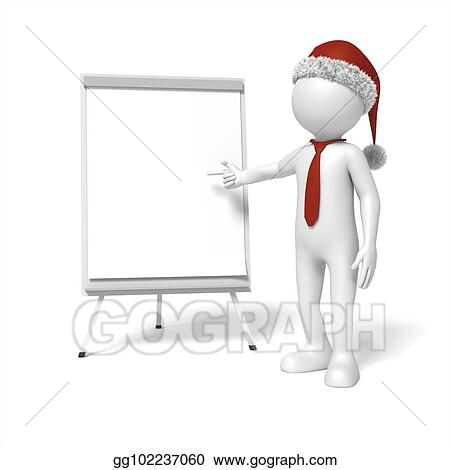 Picture A Christmas Flipchart.Stock Illustration Man With A Christmas Cap Flip Chart