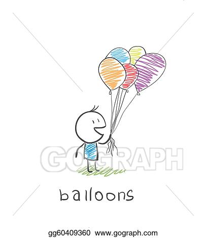 Stock Illustration - Man with balloons  Clipart Drawing gg60409360