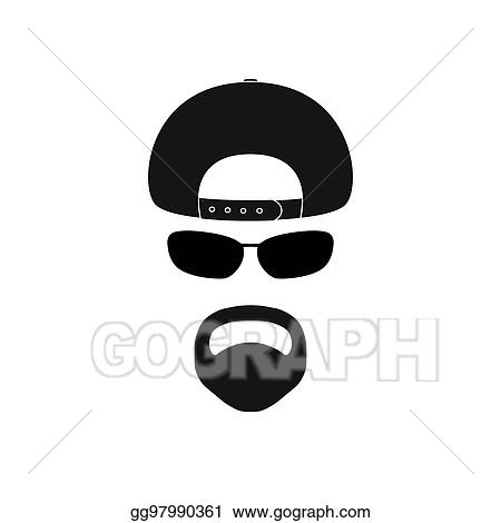 vector art - man with baseball cap, sunglasses and goatee. clipart