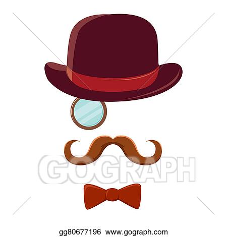 stock illustration man with mustache top hat and bow tie clipart