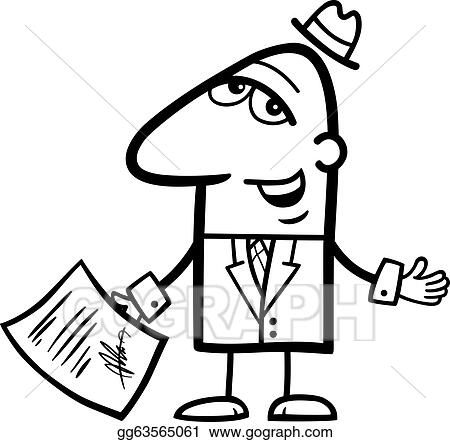 Vector Art Man With Signed Contract Cartoon Clipart Drawing
