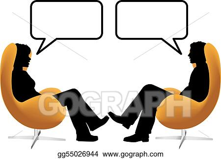 vector art man woman couple sit talk in egg chairs clipart rh gograph com talk back clipart talk show clipart
