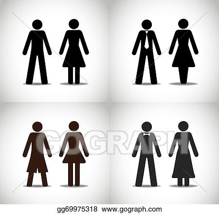 Vector Art Man Woman Or Boy Girl Symbol Set Clipart Drawing