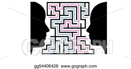 Eps Vector Man Woman Silhouettes Face A Puzzle Maze Stock Clipart Illustration Gg54406428 Gograph