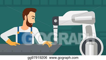 Clip Art Vector Man Working On Industrial Welding Robotic Arm Stock Eps Gg97919206 Gograph