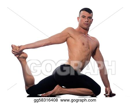 stock photography  man yoga eka pada rajakapotasana king