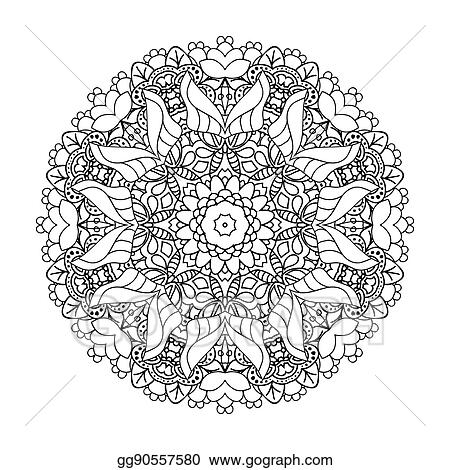 Islam Arabic Indian Ottoman Motifs Boho Style Mono Color Black Line Art For Adult Coloring Book Page Design